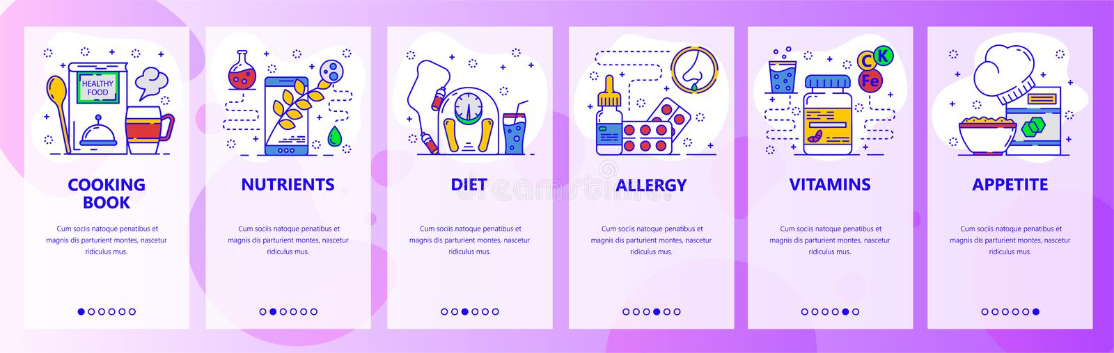 Mobile app onboarding screens. Food and healthy diet. food allergy. Menu vector banner template for website and mobile vector illustration