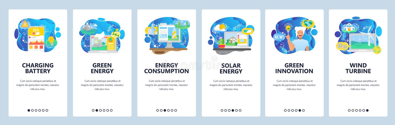 Mobile app onboarding screens. Green energy, power consumption, battery charging. Menu vector banner template for stock illustration