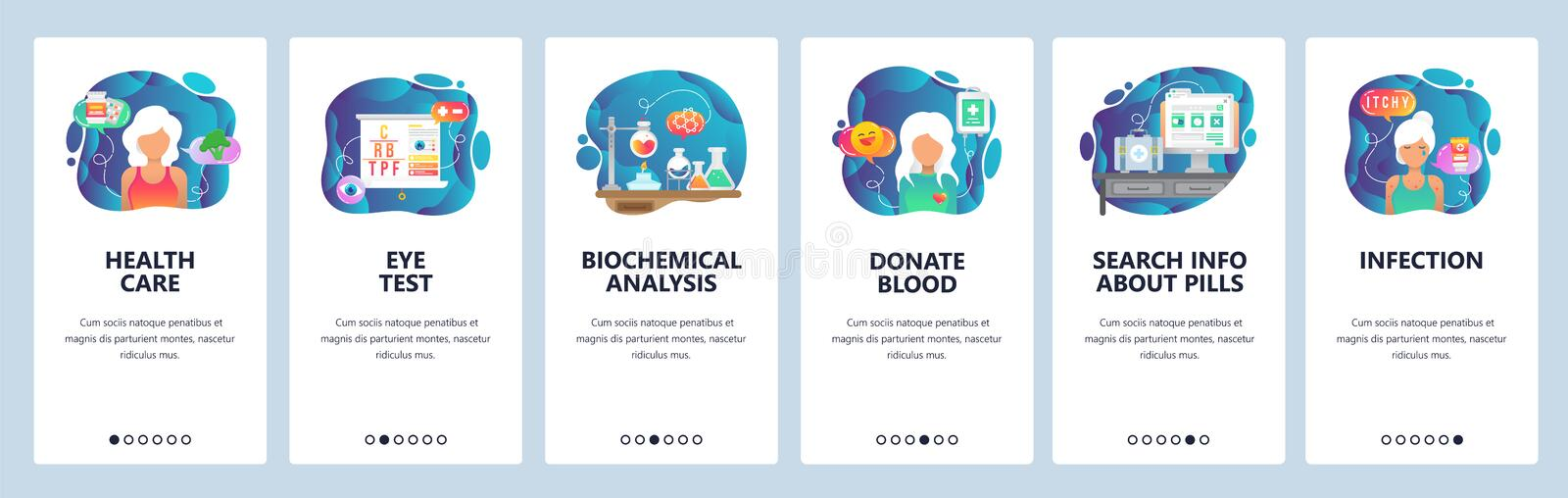 Mobile app onboarding screens. Healthcare, sickness, lab and blood test results, infection, donation. Menu vector banner. Mobile app onboarding screens stock illustration