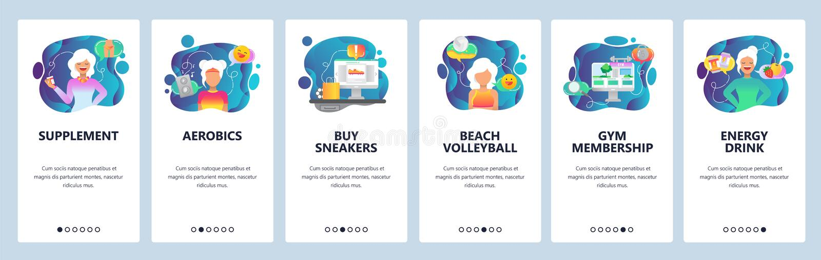 Mobile app onboarding screens. Healthy food, fitness, sport and diet. Menu vector banner template for website and mobile vector illustration