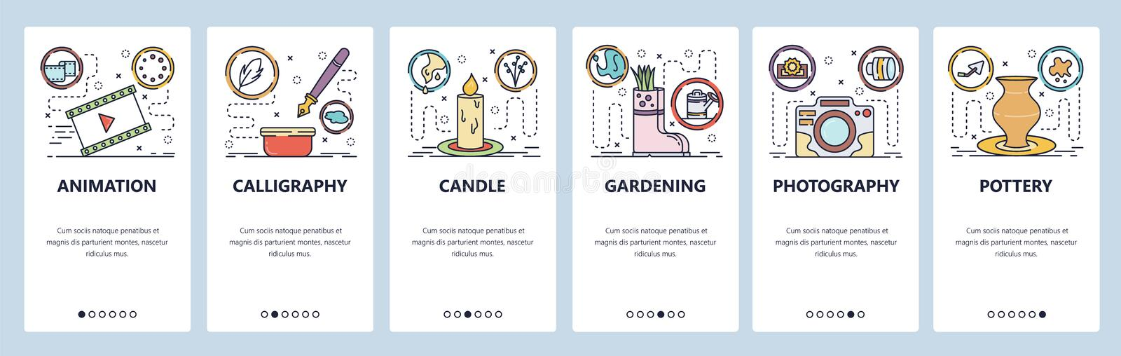 Mobile app onboarding screens. Hobby and leisure activities, photography, calligraphy, animation, gardening. Menu vector. Banner template for website and mobile royalty free illustration