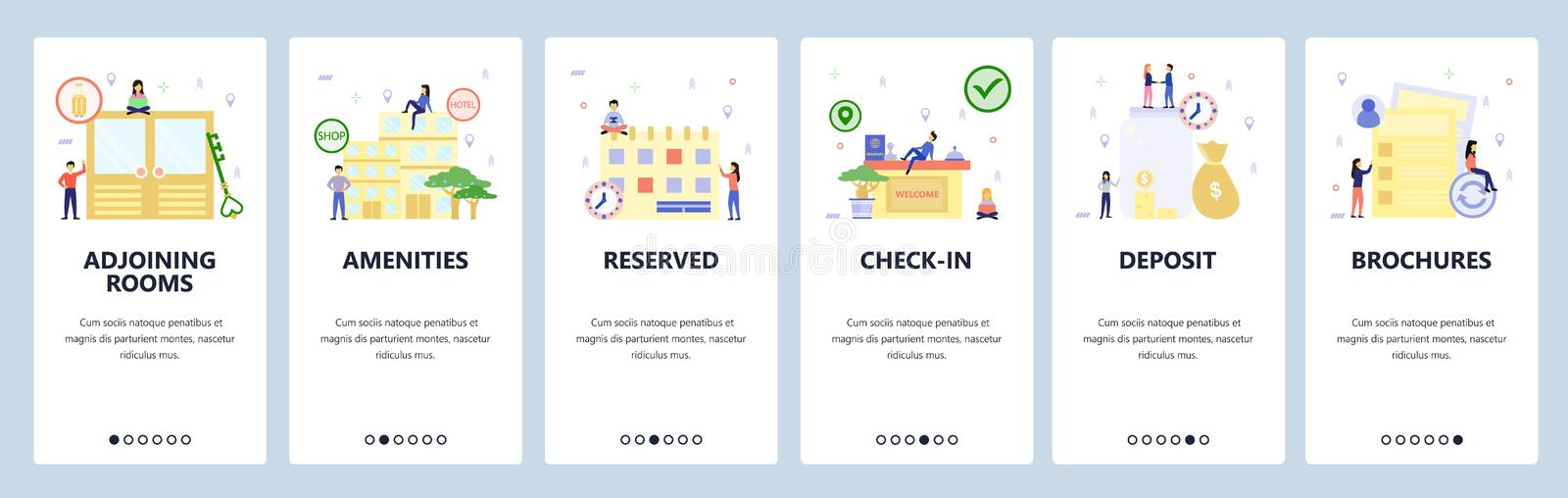 Mobile app onboarding screens. Hotel building, booking room, check-in counter. Menu vector banner template for website. And mobile development. Web site design royalty free illustration
