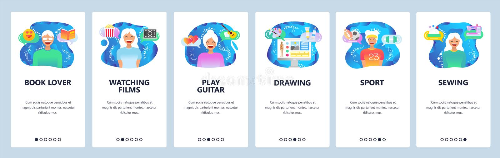 Mobile app onboarding screens. Leisure activities, hobby, readng books, watching movies, drawing. Menu vector banner. Template for website and mobile royalty free illustration