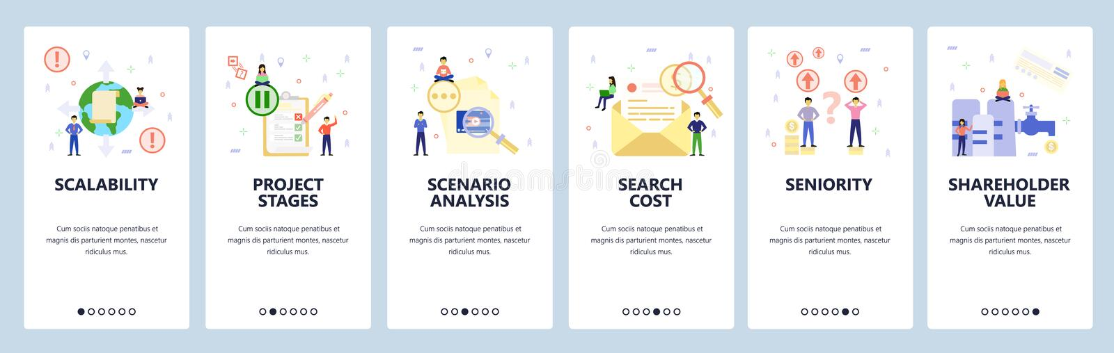 Mobile app onboarding screens. Money investment icons, search email, check list. Menu vector banner template for website. And mobile development. Web site stock illustration