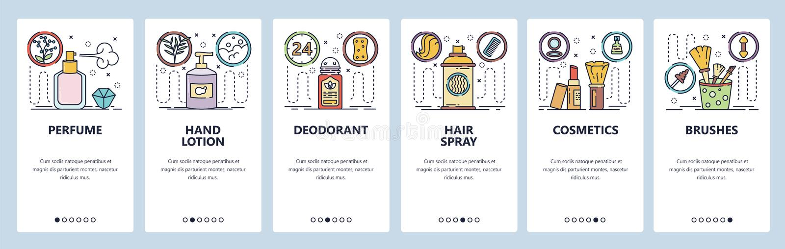 Mobile app onboarding screens. Natural cosmetics, perfume, hair spray, brushes, hand lotion. Menu vector banner template. For website and mobile development vector illustration