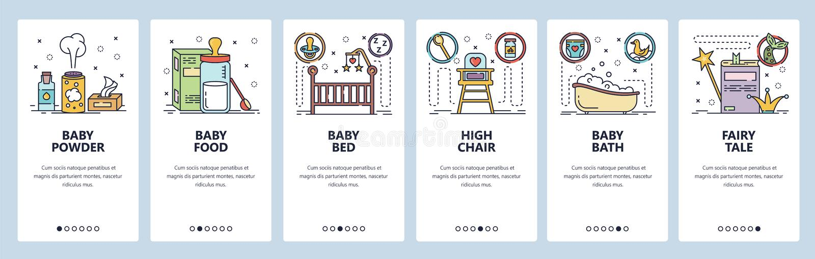 Mobile app onboarding screens. New born baby room, milk formula, baby bed and bath. Menu vector banner template for vector illustration