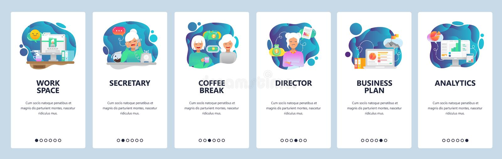 Mobile app onboarding screens. Office, coffee break, business analytics, work space. Menu vector banner template for. Website and mobile development. Web site stock illustration