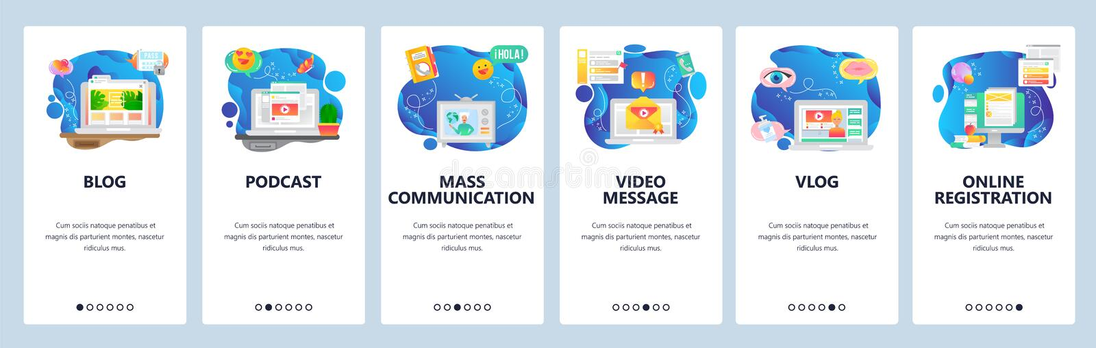 Mobile app onboarding screens. Online blog and vlog, video streaming, podcast and tv news. Menu vector banner template. For website and mobile development. Web vector illustration