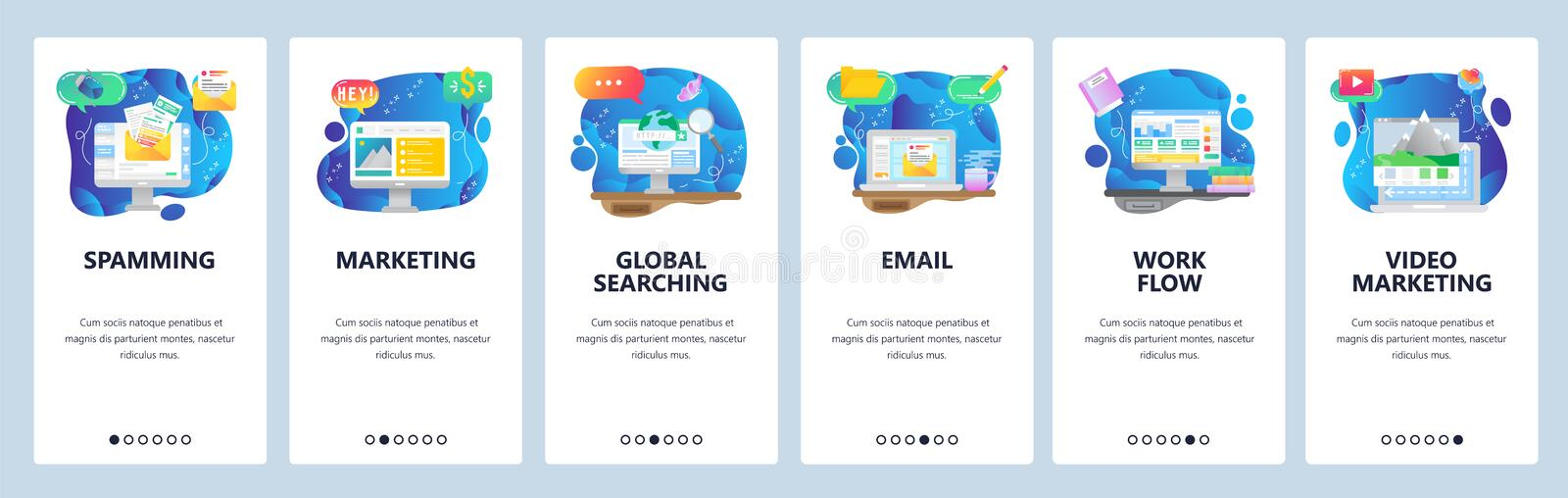Mobile app onboarding screens. Online computer technologies, digital marketing, work flow, email spam. Menu vector. Banner template for website and mobile stock illustration