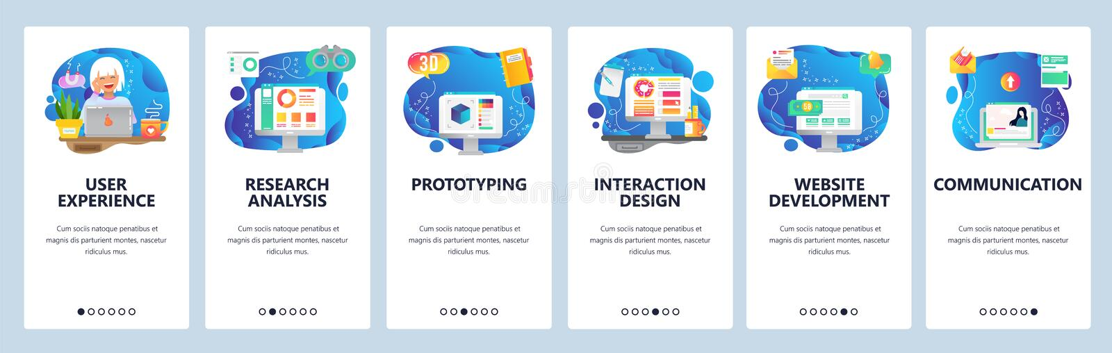Mobile app onboarding screens. Online dating profile, business development, market financial research, prototyping stock illustration