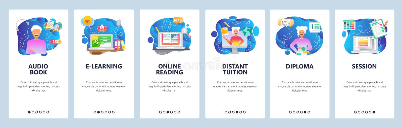 Mobile app onboarding screens. Online education, digital library, audio book, distant tutor, online reading. Vector. Mobile app onboarding screens. Online stock illustration