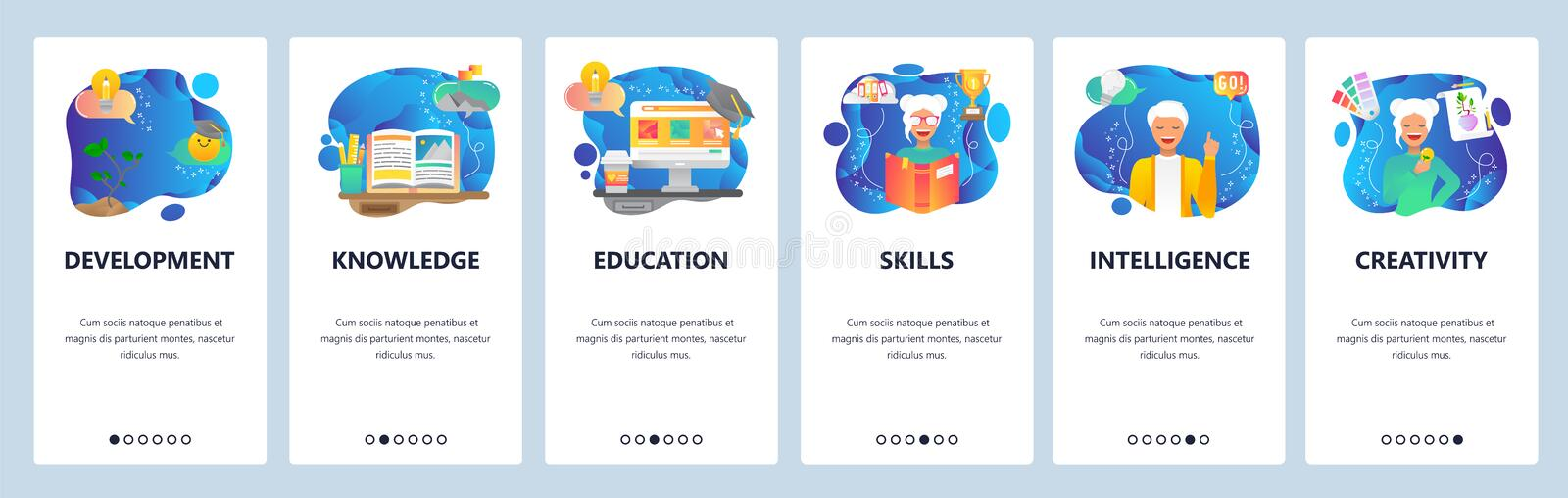 Mobile app onboarding screens. Online education, people skills development, female student, knowledge, book. Vector royalty free illustration