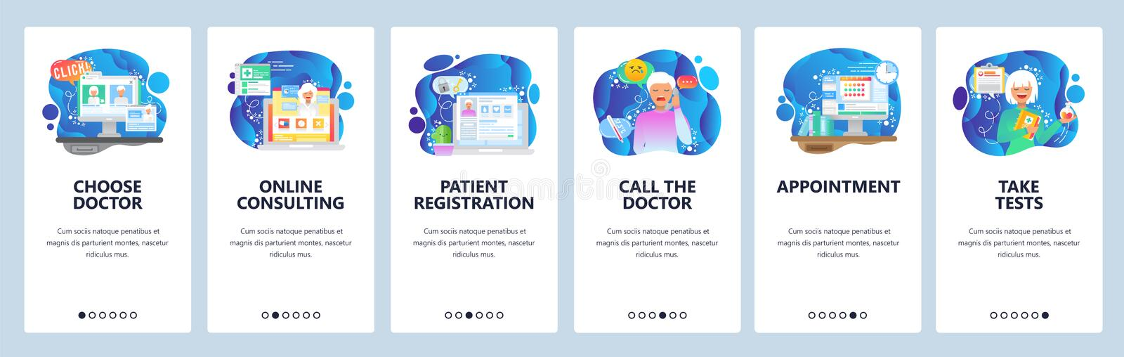 Mobile app onboarding screens. Online medical consulting, chat with doctor, sick patient. Menu vector banner template stock illustration