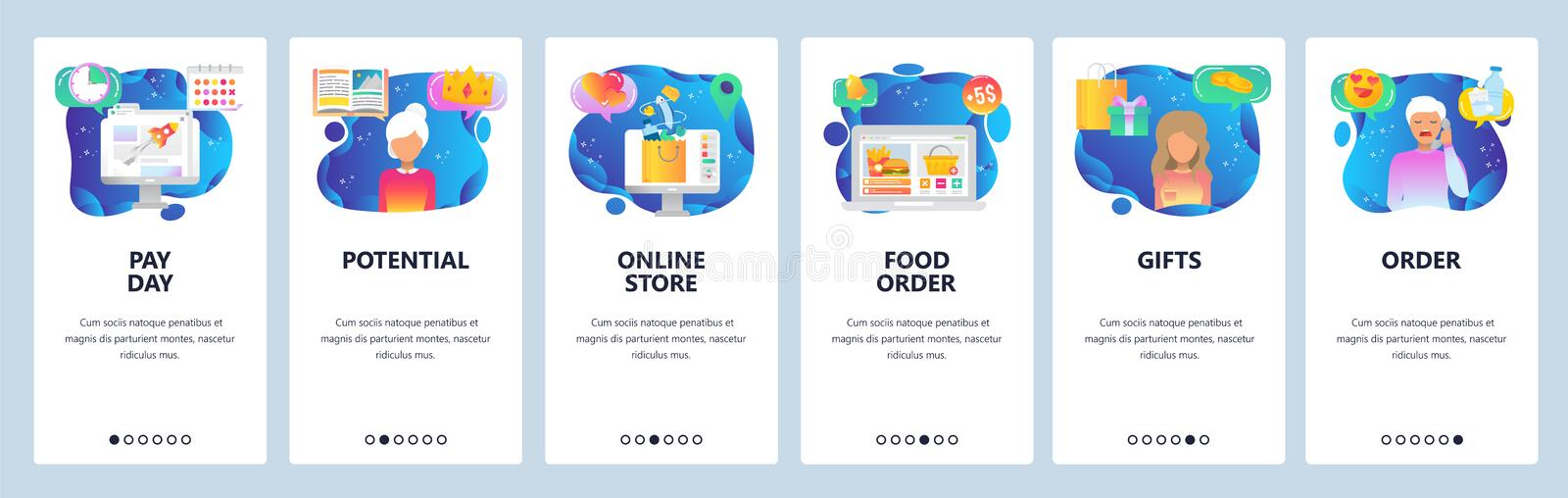 Mobile app onboarding screens. Online shoping and order by phone call, foor delivery, pay day. Menu vector banner royalty free illustration
