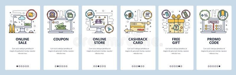 Mobile app onboarding screens. Online shopping, cashback card, promo code, free gift. Menu vector banner template for vector illustration