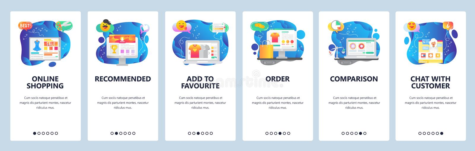 Mobile app onboarding screens. Online shopping, price comparison, order and delivery, sale promotion. Menu vector banner royalty free illustration