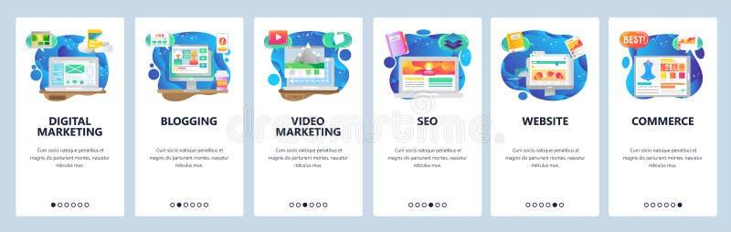 Mobile app onboarding screens. Online shopping, seo and digital marketing, video blogging. Menu vector banner template. Mobile app onboarding screens. Online stock illustration