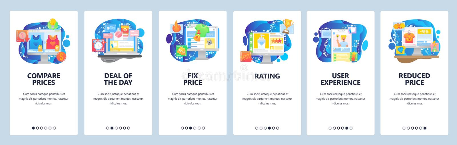 Mobile app onboarding screens. Online store price comparison, deal, video product review, rating, fix price. Menu vector. Banner template for website and mobile royalty free illustration