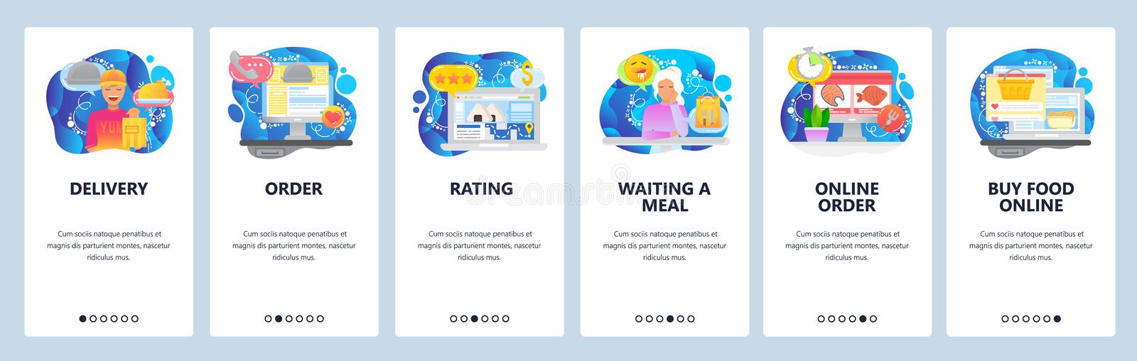 Mobile app onboarding screens. Order meal online, food delivery service, deliveryman. Menu vector banner template for. Website and mobile development. Web site vector illustration
