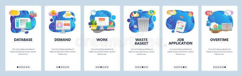 Mobile app onboarding screens. Overtime hours, office work place, waste bin, cloud storage database. Menu vector banner stock illustration