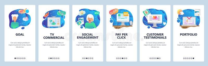 Mobile app onboarding screens. Pay per click, marketing, social engagement, customer review. Menu vector banner template vector illustration