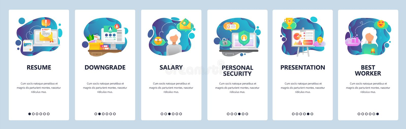 Mobile app onboarding screens. Resume and job offer, best employee, salary and business presentation. Menu vector banner stock illustration