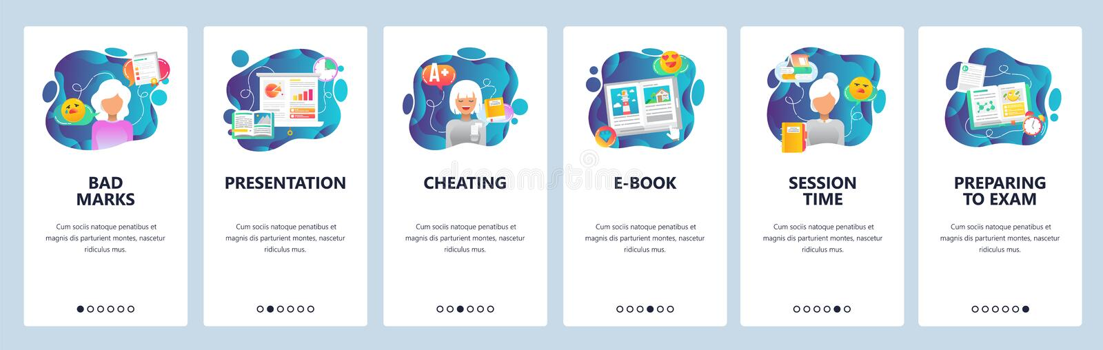 Mobile app onboarding screens. School and college education, exam cheating, session time. Menu vector banner template vector illustration