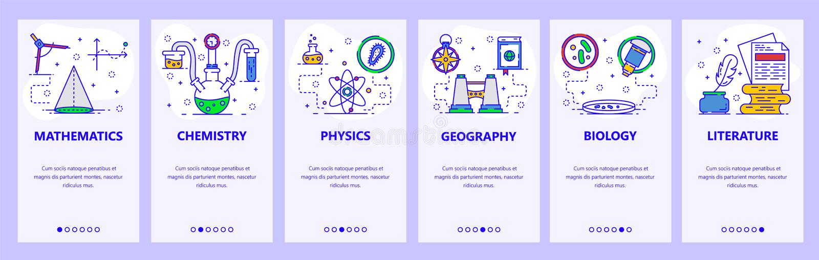 Mobile app onboarding screens. Science and school subjects, chemistry, math, physics, biology. Menu vector banner. Template for website and mobile development vector illustration