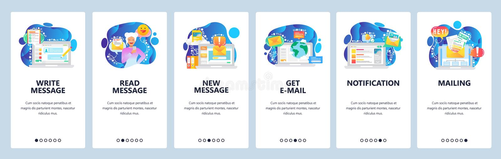 Mobile app onboarding screens. Send message, chat bot, new email notification, online cobtact. Menu vector banner. Template for website and mobile development stock illustration
