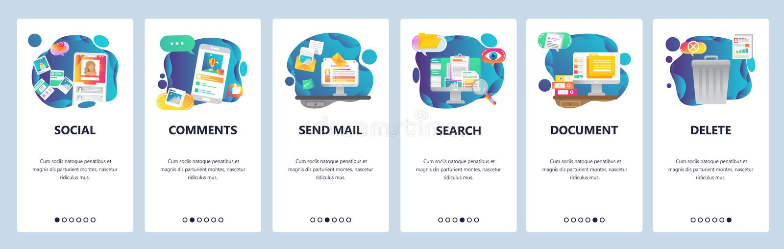 Mobile app onboarding screens. Social media network, photo sharing and computer services. Menu vector banner template royalty free illustration