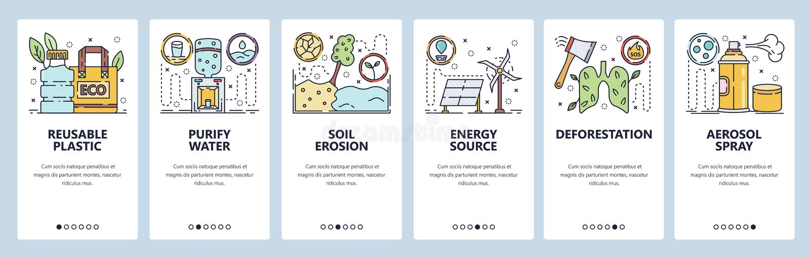 Mobile app onboarding screens. Soil erosion, forest protection, energy sources, plastic recycle. Menu vector banner. Template for website and mobile development vector illustration