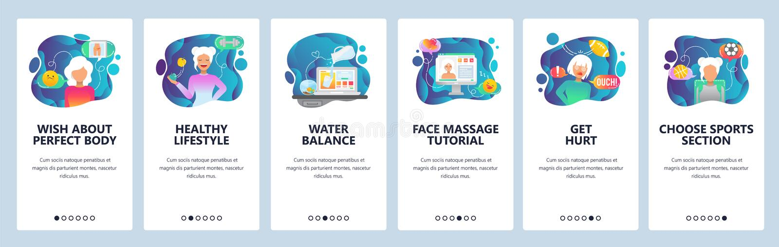Mobile app onboarding screens. Sport and healthy lifestyle, water balance and diet. Menu vector banner template for royalty free illustration