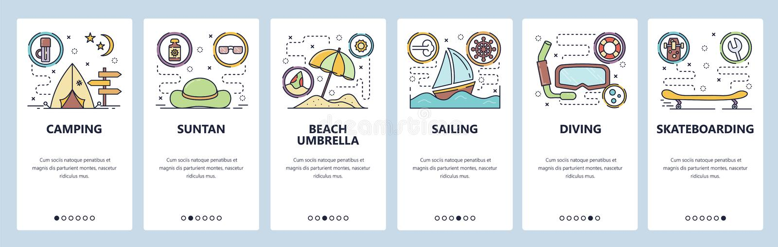 Mobile app onboarding screens. Summer leisure activities, beach vacation, travel and camping, sailing, diving. Vector. Mobile app onboarding screens. Summer stock illustration