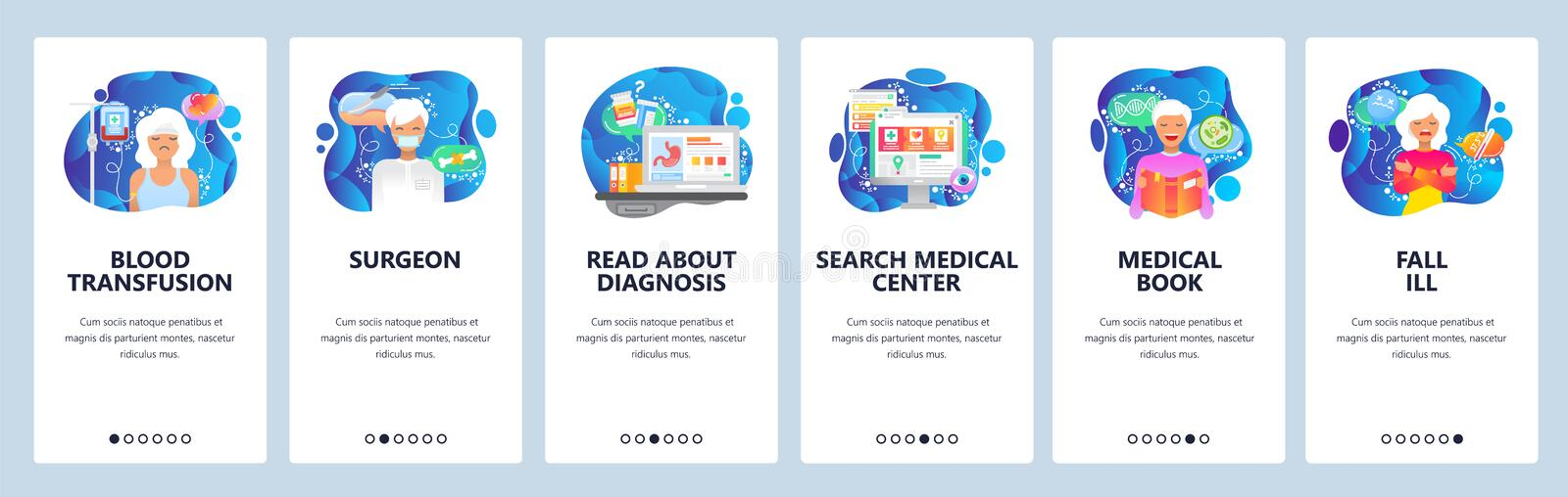 Mobile app onboarding screens. Surgeon doctor, blood transfusion, medical book, sick female patient. Menu vector banner royalty free illustration