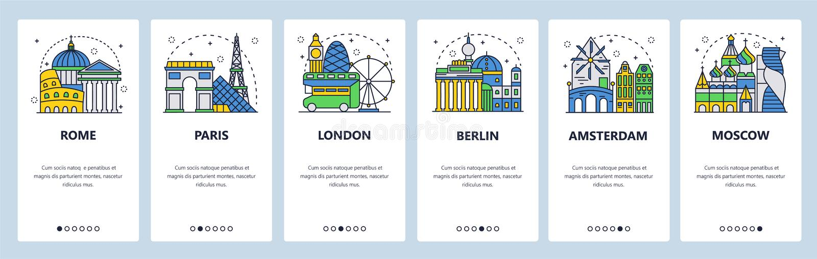 Mobile app onboarding screens. Tourist sightseeing, Europe cities landmarks, travel Europe. Menu vector banner template vector illustration
