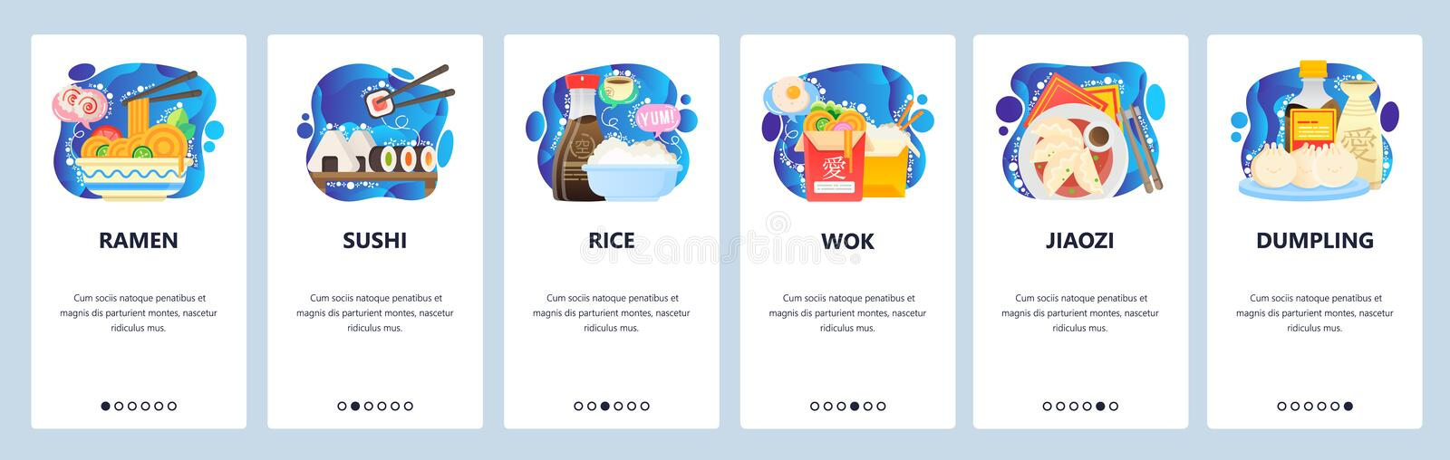 Mobile app onboarding screens. Traditional asian cuisine, restaurant menu meals, ramen, sushi, rice, wok. Vector banner stock illustration