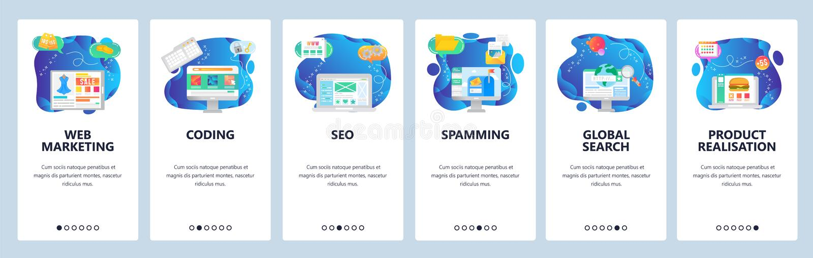 Mobile app onboarding screens. Web amd digital marketing, spamming, SEO and online shopping. Menu vector banner template. For website and mobile development royalty free illustration