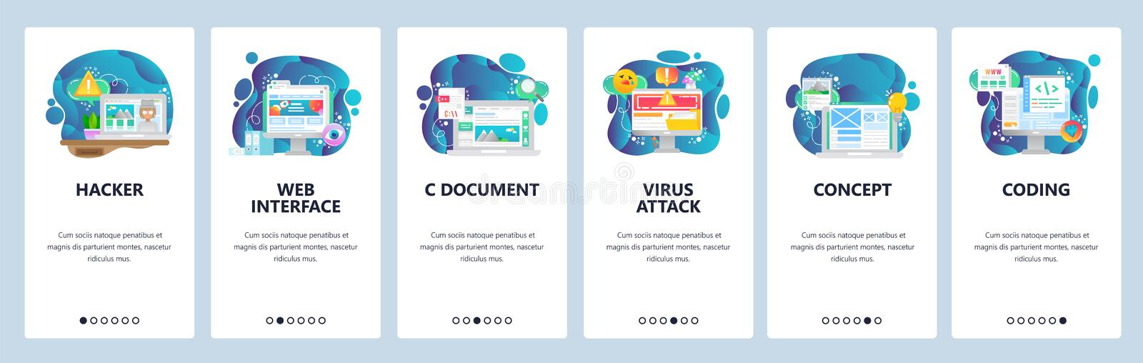 Mobile app onboarding screens. Web and software development. Cyber security, coding, virus attack. Menu vector banner vector illustration