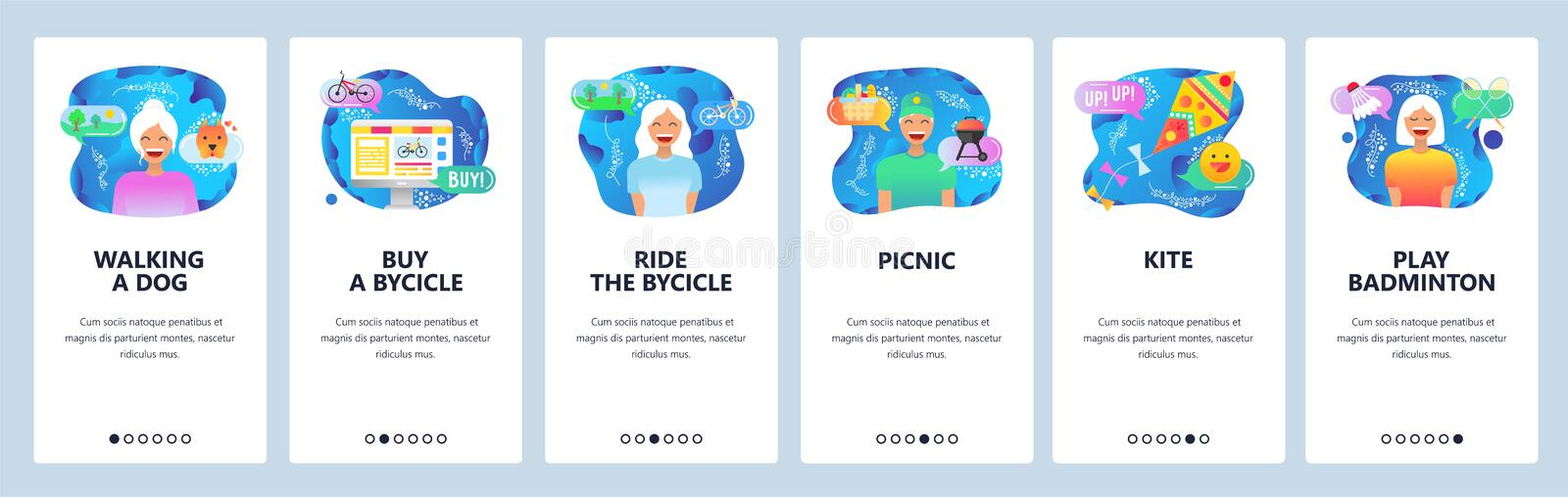 Mobile app onboarding screens. Weekend outdoor activities, leisure time, walking dog in a park, ride bycicle. Vector. Mobile app onboarding screens. Weekend royalty free illustration