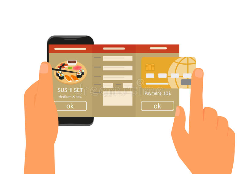 Mobile app for ordering sushi stock illustration