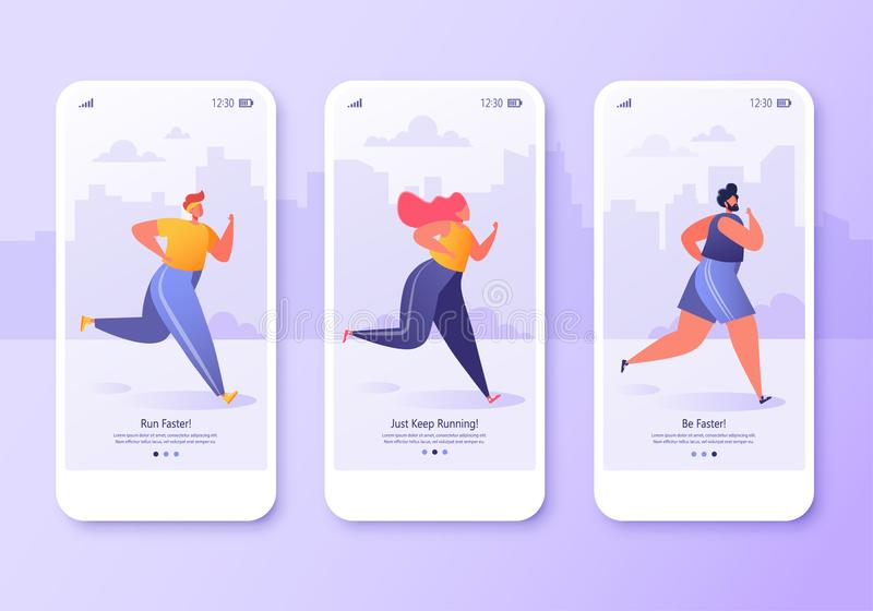 Mobile app page, screen set. Healthy lifestyle concept for website or web page. Young active people running marathon. Fitness in the city, cardio sport stock illustration