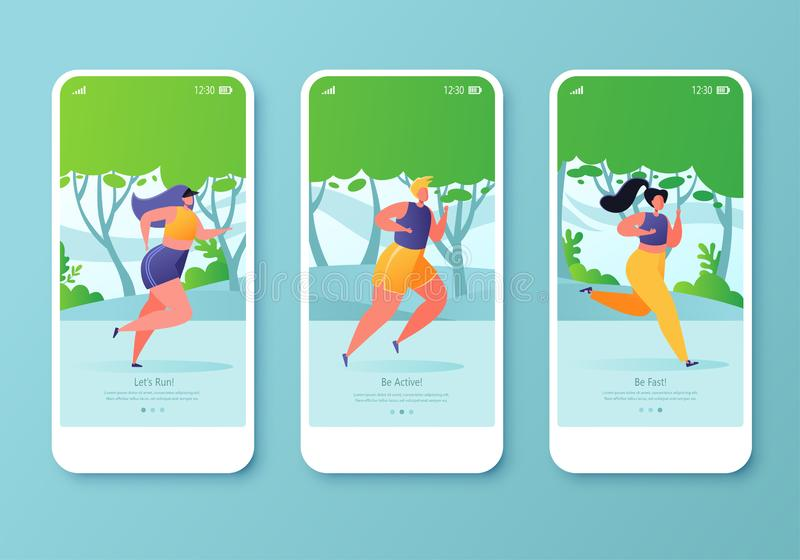 Mobile app page template screen set. Healthy lifestyle concept for website or web page. stock illustration
