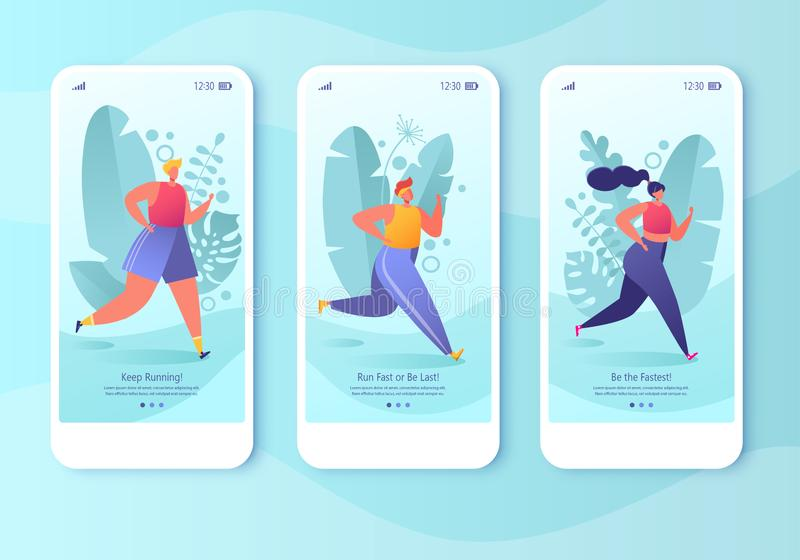 Mobile app page template screen set. Healthy lifestyle concept for website or web page. Young active people running in the park. Fitness in the city, cardio stock illustration
