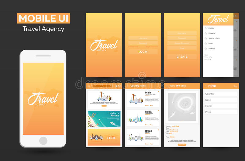 Mobile app Travel agency Material Design UI, UX, GUI. Responsive website. Mobile app Travel agency Material Design UI, UX, GUI. Responsive website stock illustration