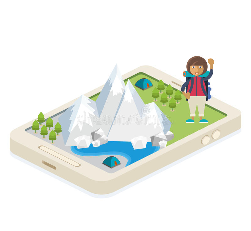 Mobile app for traveling and camping. A mobile app with a map of traveling and camping royalty free illustration