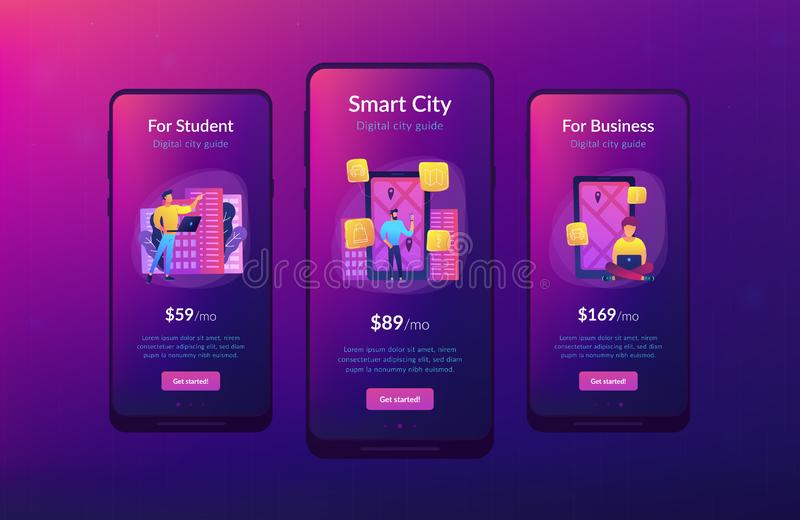 Digital City Guide And Smart City Concept App Ui Design  Stock