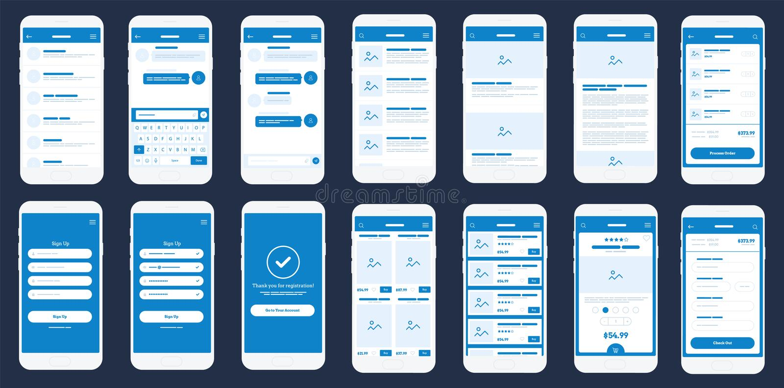 Mobile App Wireframe Ui Kit. Detailed wireframe for quick prototyping. royalty free illustration