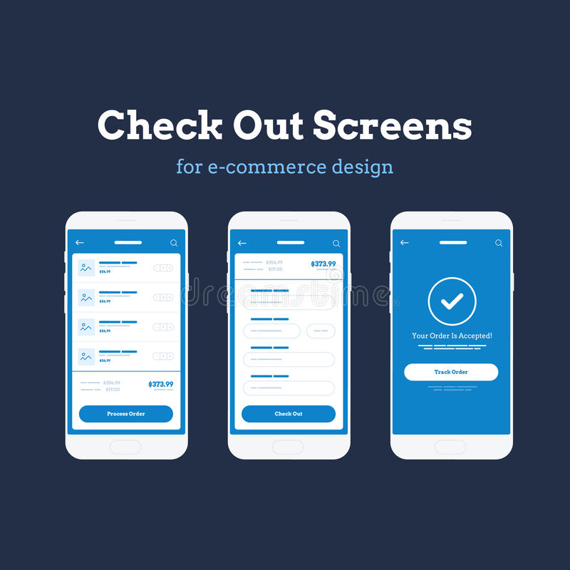 Mobile App Wireframe Ui Kit. Detailed wireframe for quick prototyping. Checkout and cart mockup screens vector illustration