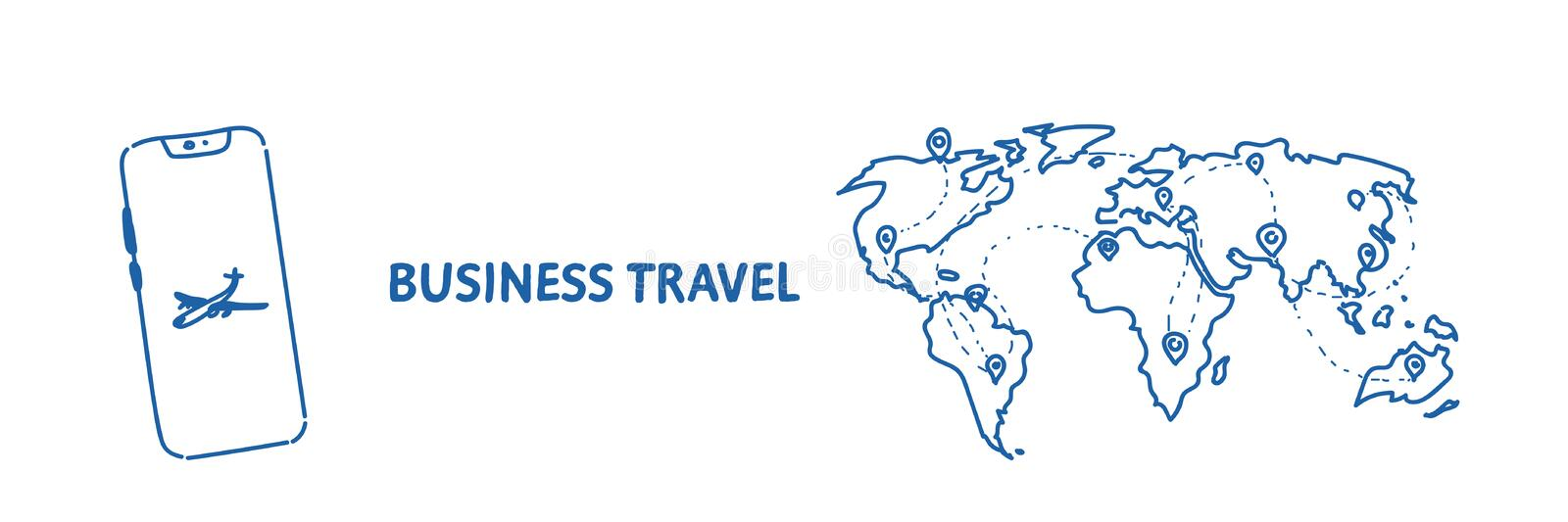 Mobile application business travel concept tourism company agency world map with pins international traveling by plane. Sketch flow style horizontal vector stock illustration