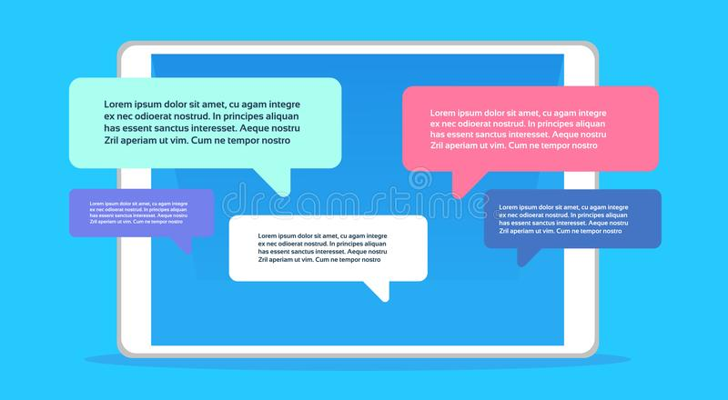 Mobile application chat interface message notifications bubble copy space flat horizontal stock illustration